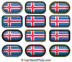 12 buttons of the Flag of Iceland
