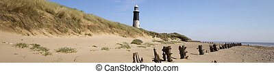 Lighthouse - Panoramic Lighthouse at Spurn Point in...