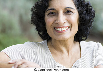 Smiling Middle-Age Woman - Portrait of a Smiling Mature...