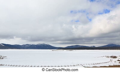 Clouds float over Lake Shchuchye at the Borovoye resort....