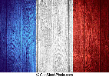 France flag or French banner on wooden boards background