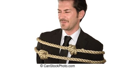 a tied up businessman - business concept, crisis