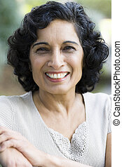 Smiling Woman - Portrait of a Smiling Mature Indian Woman...