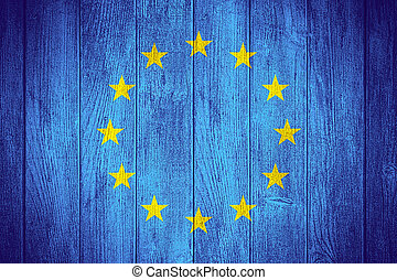 European Union flag or European banner on wooden boards...