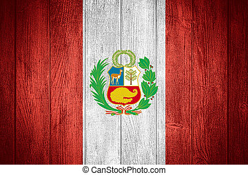 Peru flag or Peruvian banner on wooden boards background