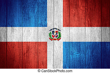 Dominican Republic flag or banner on wooden boards...