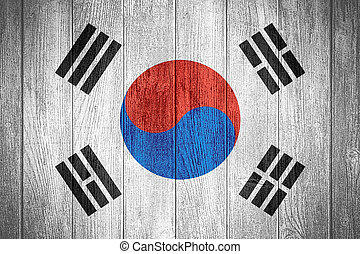 South Korea flag or South Korean banner on wooden boards...