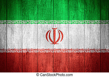 Iran flag or Iranian banner on wooden boards background