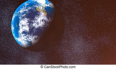 Earth view from Nibiru - Earth on a background of stars and...
