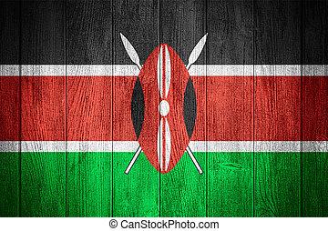 Kenya flag or Kenyan banner on wooden boards background