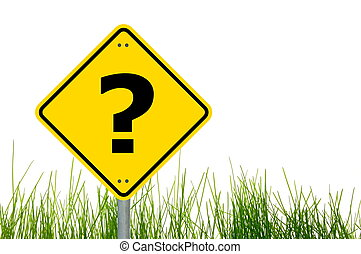 question concept with interrogation mark on roadsign...