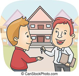 Man House Key - Illustration of a Man handing House Key