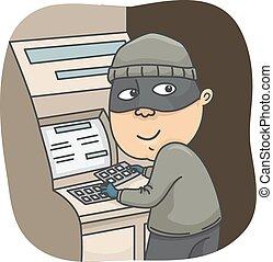 Man Thief Rob - Illustration of a Thief Robbing ATM