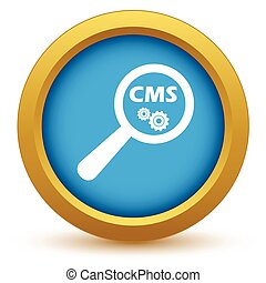 CMS under loupe icon - Round colored icon with text CMS and...