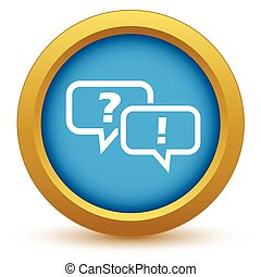 Answering the question icon - Round colored icon with two...