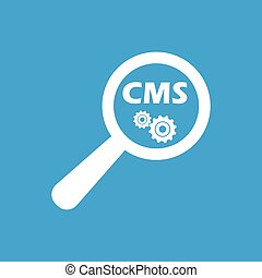 CMS details symbol - Text CMS and gears under loupe on blue...