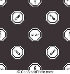 STOP pattern - Classic stop sign repeated on dark grey...