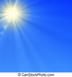 blue sky with sun and copyspace for text message