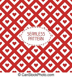 Red romantic wedding geometric seamless pattern with hearts...