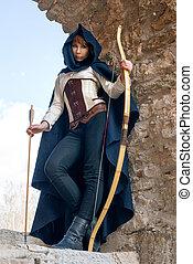 antiga, femininas, arqueiro,