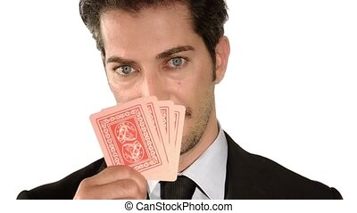 The businessman is a winner - Businessman holding aces poker...
