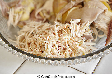 Shredded chicken for the ingredient for Soto, the...