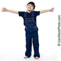 Big Hug - Adorable six year old boy in overalls with his...