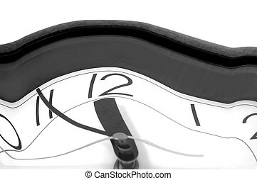 physics of time shown by warped watch...