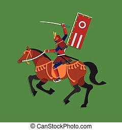 Samurai Warrior Riding Horse - Vector illustration concept...