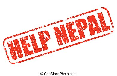 Help Nepal red stamp text on white