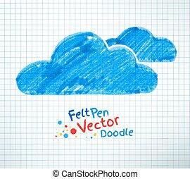 Felt pen illustration of clouds. - Felt pen vector childlike...