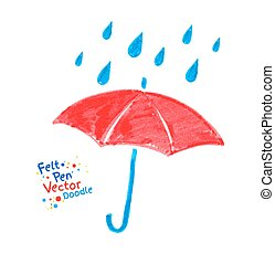 Umbrella - Vector felt pen child drawing of red umbrella and...