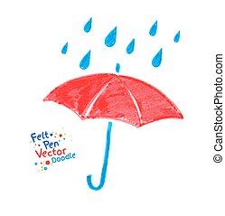 Umbrella. - Vector felt pen child drawing of red umbrella...