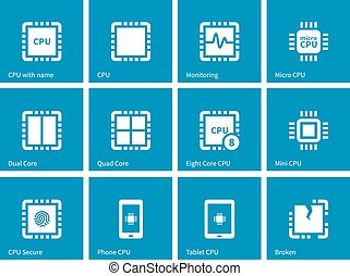 Electronic chip icons on blue background Vector illustration...