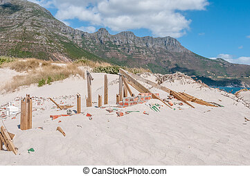 Old police station at Hout Bay reclaimed by sand dunes, Cape...