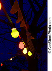 Party lights at night - A colorful party lights at night in...