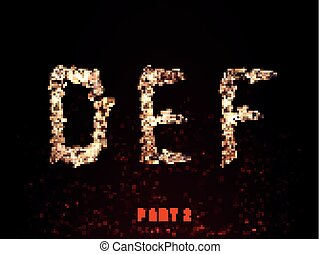 fire alphabet. letters of flame on a dark background