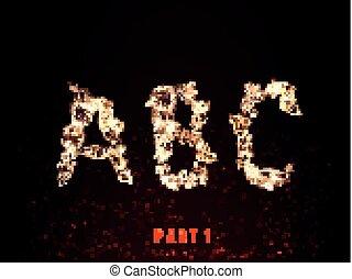 fire alphabet. letters A B C