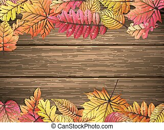 Colored leaves on wooden board. EPS 10