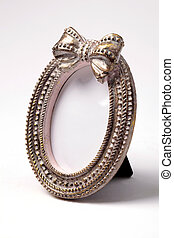 Ornate oval shape picture frame on white background - Ornate...