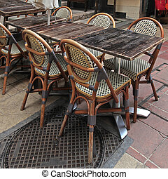 french outdoor cafe, Nice - french outdoor cafe with wood...