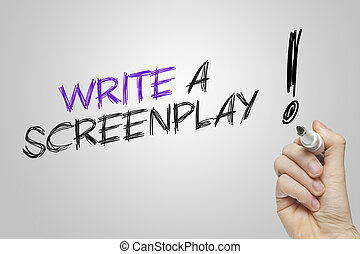 Hand writing write a screenplay on grey background