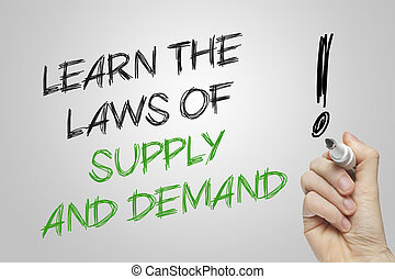 Hand writing learn the laws of supply and demand on grey...