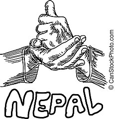 hand sign for HELP with the word NEPAL under it, handdrawn...