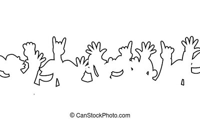 Cheering crowd looping animation outlined - Loopable cartoon...