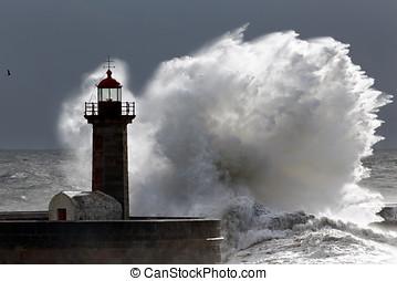 Backlit stormy wave - Backlit big stormy wave over...
