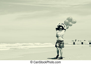 beautiful woman walking on seaside - beautiful woman walking...