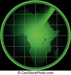 Radar screen with a silhouette of Africa