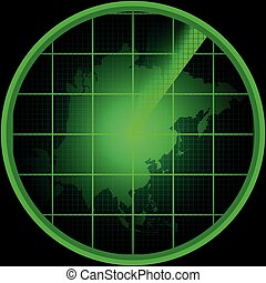 Radar screen with a silhouette of Asia
