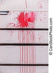 red ink splashes on a wall, icon red, criminal damage,...